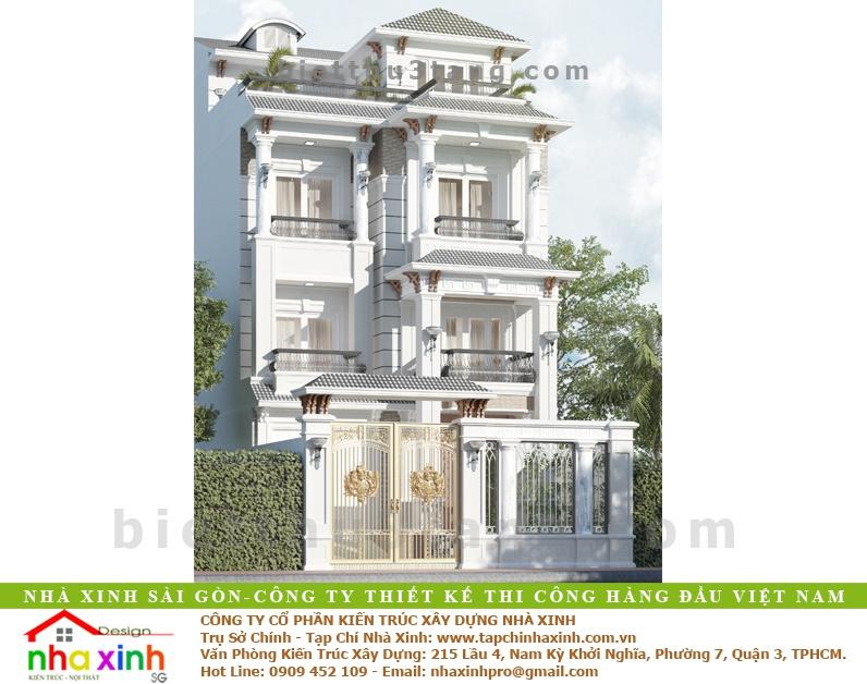Mẫu Biệt Thự 3 Tầng Kiến Trúc Tân Cổ Điển Pháp | BT-177