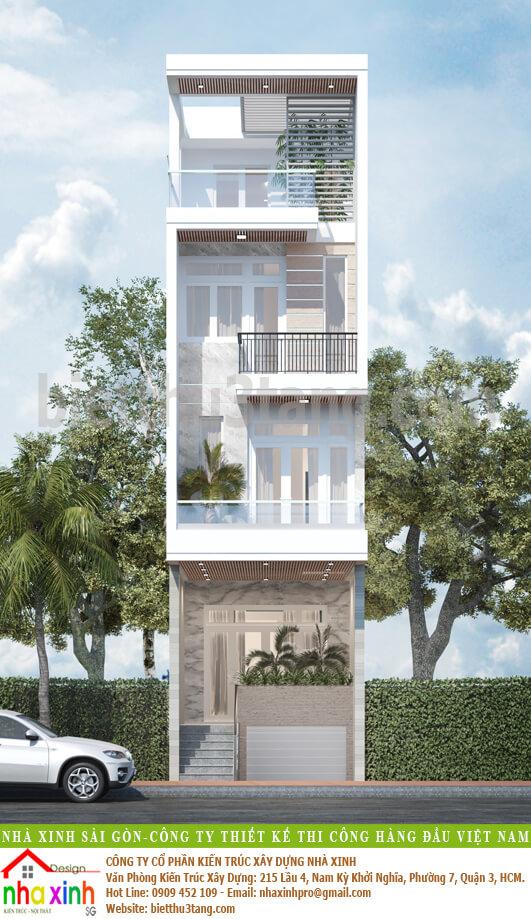 Thiết Kế Nhà Phố 4 Tầng Đẹp | Anh Hùng | NP-183